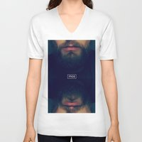 beard V-neck T-shirts featuring Beard by Mosa1c/Artistic Nerd