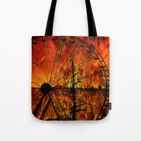 ferris wheel Tote Bags featuring Ferris wheel by  Agostino Lo Coco