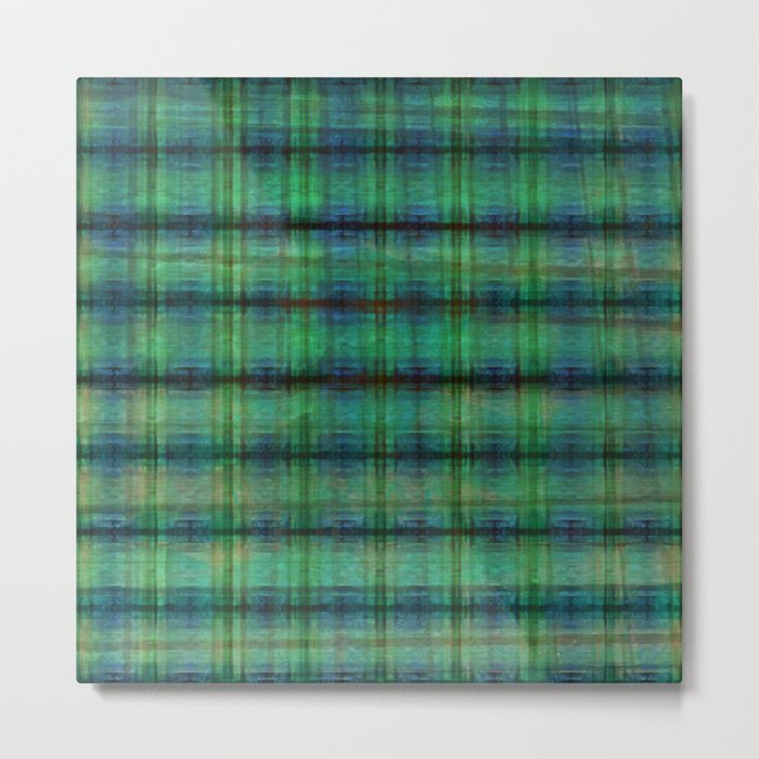 Forest Straw Plaid On Frozen Lake Metal Print