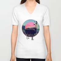 ass V-neck T-shirts featuring Llama by Ali GULEC