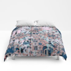 Pink and Blue Modern Geometric and Animal Print Pattern Comforters
