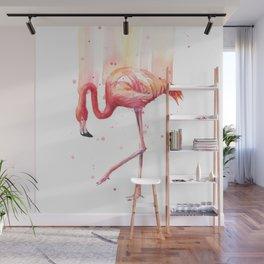 Pink Flamingo Watercolor Tropical Bird Wall Mural