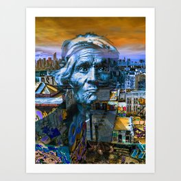 Ghost Tribe Native Americans in New York Blue Art Print