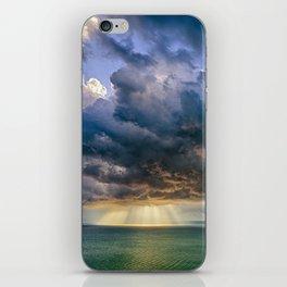 Heavenly lights through storm clouds over Lake Balaton iPhone Skin