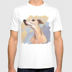 Whippet face White MEDIUM Mens Fitted Tee