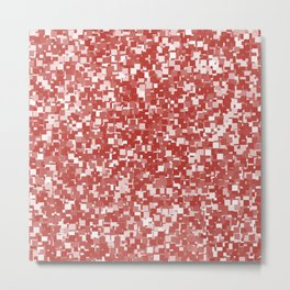 Aurora Red Pixels Metal Print