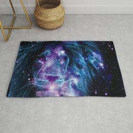Leo Galaxy Lion : Purple Blue Rug