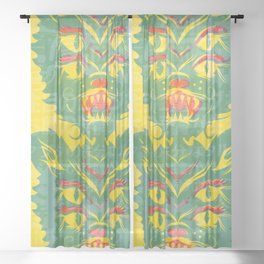 4 Eyed Feline - Yellow Sheer Curtain