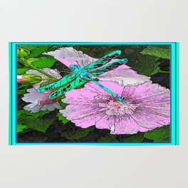 Green-Turquoise Dragonfly Pink Floral Art Rug