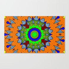 Lovely Healing Mandala  in Brilliant Colors: Orange, Royal Blue, Gray, Olive, Green, and Maroon Canvas Print