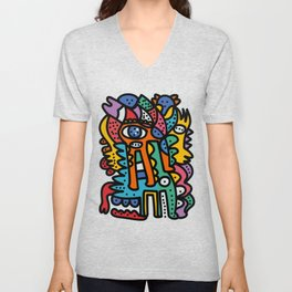 Graffiti Pre Colombian Street Art Cool Creatures Unisex V-Neck