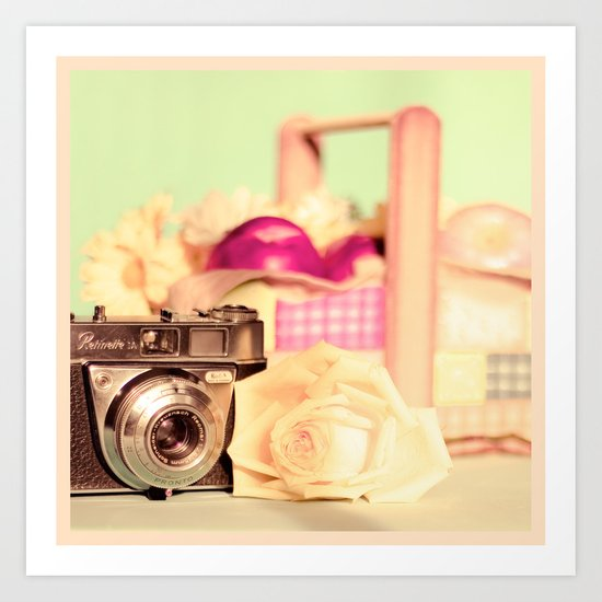Film Camera and Rose (Retro and Vintage Still Life Photography)  Art Print