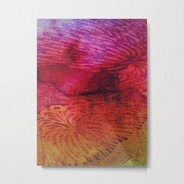 Textured Chrysanthemum | Jewel Toned Fuschia Gold Metal Print