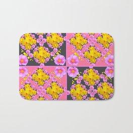 Pink-Grey Quarter Panel Floral Pattern Bath Mat