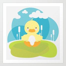 Little duck in pond Art Print