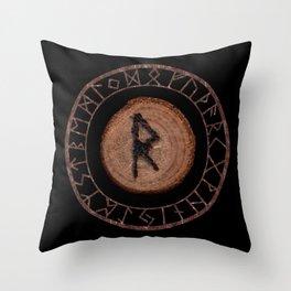 Raidho Elder Futhark Rune Travel, journey, vacation, relocation, evolution, change of place Throw Pillow