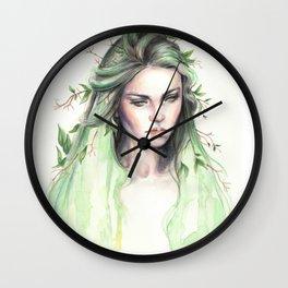 """Terra"" Earth spirit Watercolour portrait Wall Clock"