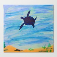 sea turtle Canvas Prints featuring Turtle by Lissasdesigns