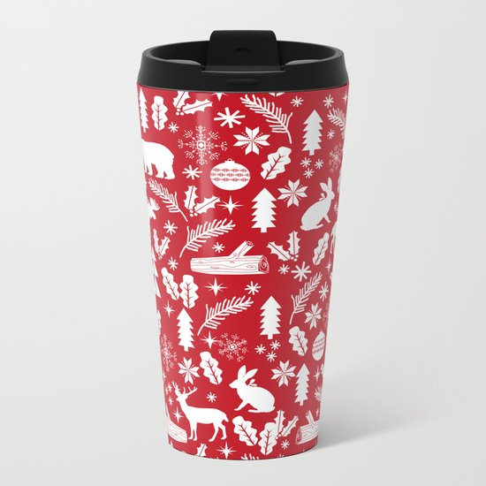 Festive Christmas woodland reindeer moose bear camping red and white minimal pattern for holidays Metal Travel Mug