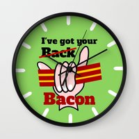 bacon Wall Clocks featuring Bacon by mailboxdisco