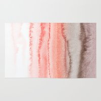 coral Area & Throw Rugs featuring WITHIN THE TIDES CORAL DAWN by Monika Strigel