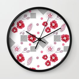 Watercolor . Red poppies . Wall Clock