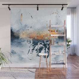 French bulldog and landscape abstract design Wall Mural