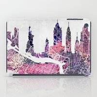 new york skyline iPad Cases featuring New York Skyline + Map by Map Map Maps