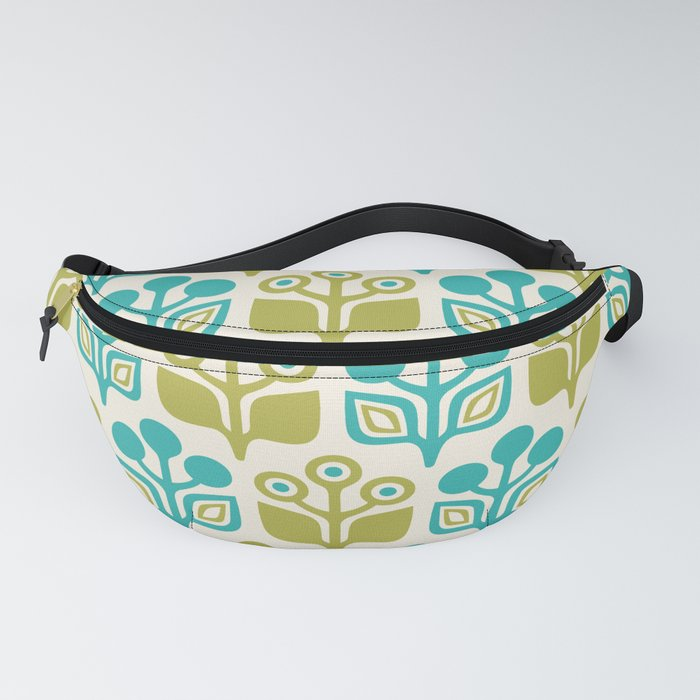 Mid Century Garden Flower Pattern Turquoise Chartreuse Fanny Pack