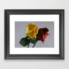 Origami Red and Yellow Roses Framed Art Print