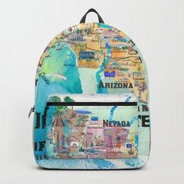 USA Southwest States Travel Poster Map - CA, AZ, NM, TX, NV, UT, CO Backpack