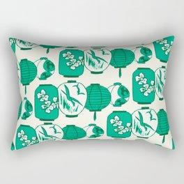 Vintage Chinese Lantern Illustration Pattern (GREEN) Rectangular Pillow