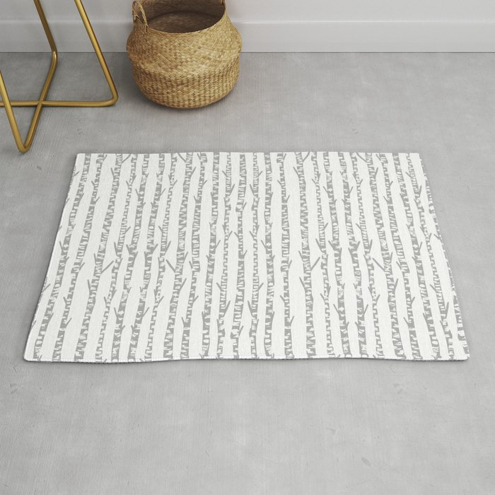 Birch Trees Minimal Grey And White Nursery Home Decor Office Minimalist Forest Nature Rug By Andrealaurendesign