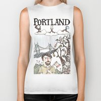 portland Biker Tanks featuring Portland, Oregon by Brooke Weeber