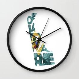 Delaware Typographic Flag Map Art Wall Clock