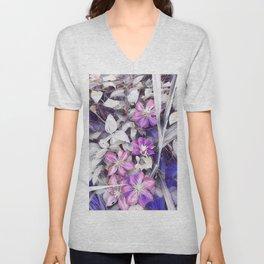 flowers clematis Unisex V-Neck
