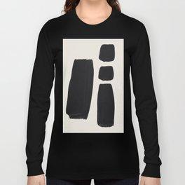 Mid Century Modern Minimalist Abstract Art Brush Strokes Black & White Ink Art Square Shapes Long Sleeve T-shirt