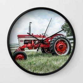 International Harvester Farmall 240 Side View Red Farming Tractor Wall Clock