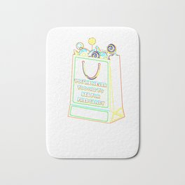 (tshirt) Youre Never Too Old To Beg For Free Candy (neon) Bath Mat