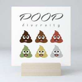 Poop diversity- Types of poop happy emoticons Mini Art Print
