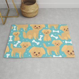 pattern funny golden beige dog and white bones, Kawaii face with large eyes and pink cheeks Rug