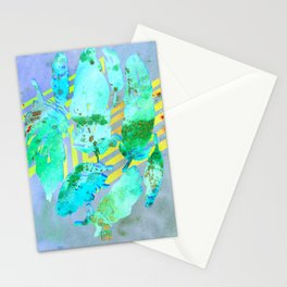 Boho Feather Zig Zag Collage | Watercolor Feather Art Print | Blue Aqua Yellow Art Print Stationery Cards