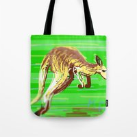 kangaroo Tote Bags featuring Kangaroo by wingnang