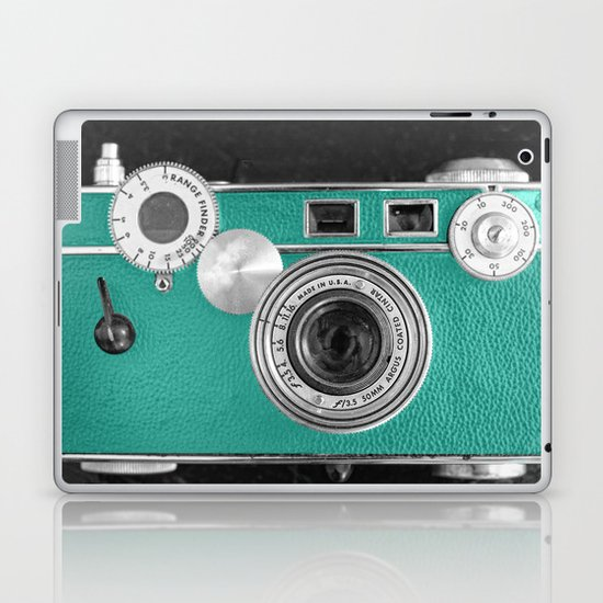 Teal retro vintage phone Laptop & iPad Skin