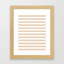 Narrow Horizontal Stripes - White and Pastel Brown Framed Art Print
