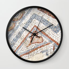 Mosaic Heart | Cute Red Blue and White Tile Old World Charming Decorative Cool Stone Photograph Wall Clock