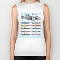formula 1 Biker Tanks featuring Formula E Cars by Pleasure Time