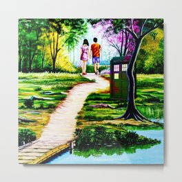 Tardis in a Romantic Place Metal Print