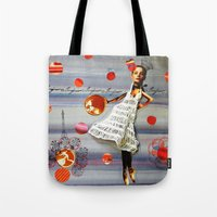 bonjour Tote Bags featuring bonjour by Gina Geo