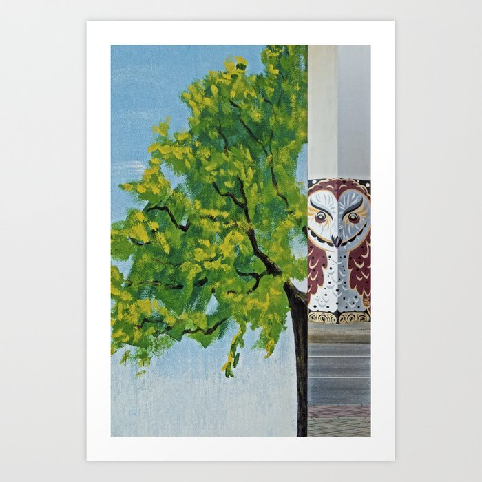 The owl in the concrete tree Art Print